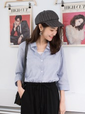 柔色調簡約細橫條紋長版寬鬆襯衫/罩衫
