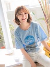 高含棉椰子樹英文燙印上衣T恤