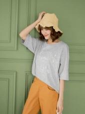 高含棉燈泡造型刺繡短袖花紗上衣T恤