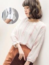 0321新品 配色直條紋下襬壓褶無領襯衫