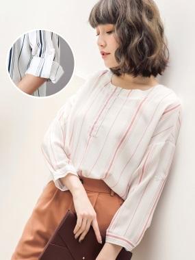 配色直條紋下襬壓褶無領襯衫