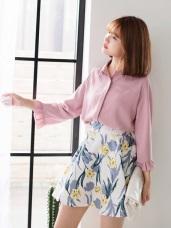 柔和色調百褶袖造型雪紡襯衫