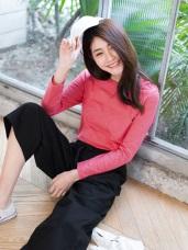 口袋造型竹節棉舒適長袖上衣