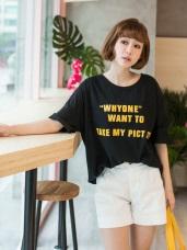 高含棉美式英文燙印寬鬆上衣T恤