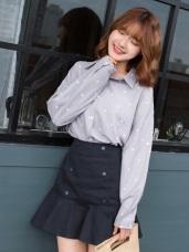 灰柔色調滿版點點印花褶袖襯衫