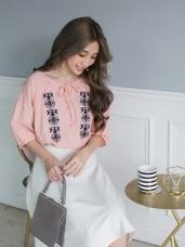 高含棉民俗花樣刺繡綁帶五分袖上衣