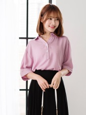 柔色調細直條紋路小排釦五分打褶袖襯衫