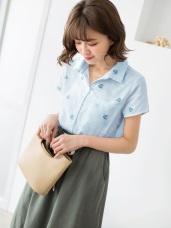 清新樹葉燙印細直條紋短袖襯衫