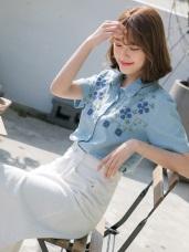 清新圖騰幸運草刺繡襯衫