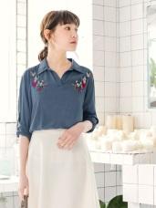 花朵刺繡半開襟反褶袖襯衫