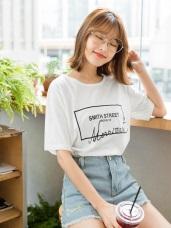 高含棉字母刺繡燙印寬鬆長版T恤