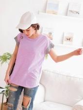 台灣製造.竹節棉撞色寬袖素面T恤上衣