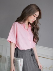 細直條紋反褶袖寬鬆襯衫