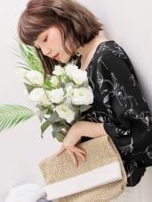 黑白配色美背造型滿版印花雪紡上衣
