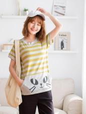 台灣製造.袋鼠口袋貓咪燙印配色條紋T恤/上衣
