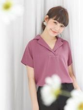 純色半開襟不易皺寬鬆雪紡襯衫