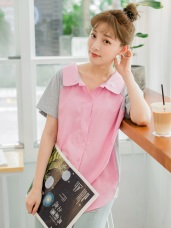 襯衫領配色拼接高含棉長版上衣