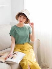 台灣製造. 竹節棉打褶抓皺袖素面T恤上衣