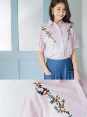 高含棉細直條紋鮮豔花朵刺繡襯衫
