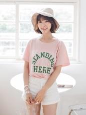 高含棉美式英文印花蕾絲T恤上衣