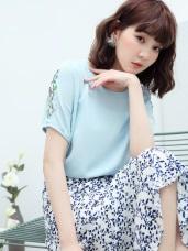 高含棉不易皺涼爽細膩刺繡縮口袖上衣