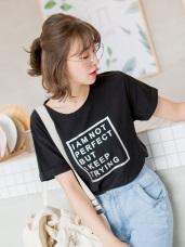 金屬光澤英文字印花T恤上衣