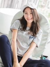 台灣製造.童趣印花立體蝴蝶結造型寬鬆T恤上衣