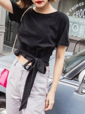 台灣製造.高含棉前衛性感鏤空綁帶設計圓領短版T恤上衣
