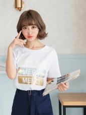 高含棉拼貼撞色亮面MERCI字T恤上衣