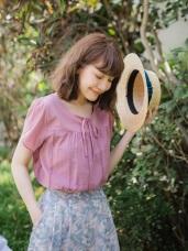 高含棉純色鏤空燒花領口綁帶寬鬆上衣
