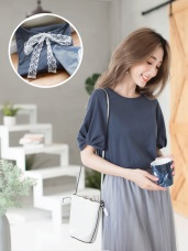 碧藍色系高含棉後蕾絲綁帶扭結袖上衣