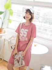 台灣製造.BIG數字英文印花長版T恤上衣