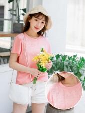 花朵圖騰刺繡高含棉純色上衣