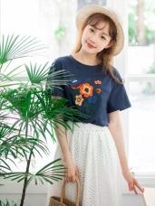 高含棉鮮豔色彩刺繡花朵T恤上衣