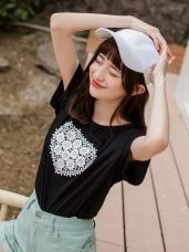 心型鏤空蕾絲雕花高含棉T恤/上衣