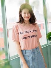 高含棉創意英文印花寬鬆T恤上衣
