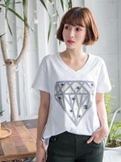 高含棉大大鑽石印圖側拉鍊V領T恤上衣