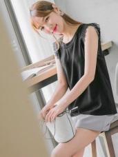 袖口鏤空蕾絲雕花拼接純色半袖上衣