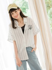 花藤字母刺繡袖口反褶直條紋襯衫
