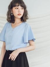 珍珠釦花邊荷葉袖微光澤V領襯衫