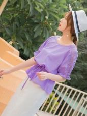 鏤空蕾絲拼接袖腰綁帶純色上衣