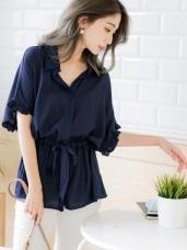 簡約腰綁帶設計寬袖上衣/罩衫