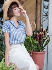 高含棉配色直條紋口袋襯衫