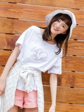 高含棉愛心英文刺繡T恤上衣