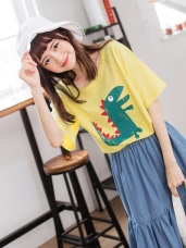可愛恐龍燙印竹節棉T恤/上衣