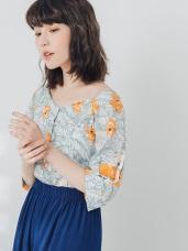 滿版印花排釦設計寬領上衣