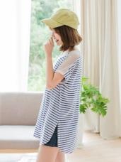 台灣製造.橫條紋鏤空洞洞肩設計上衣