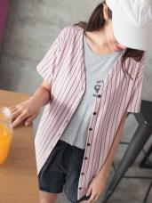 台灣製造.細條紋V領排釦上衣/罩衫外套