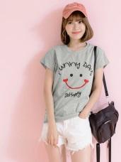台灣製造.微笑字母燙印高含棉上衣