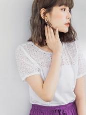 高含棉鏤空設計短袖上衣